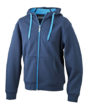 Ladies Doubleface Jacket James & Nicholson - navy/aqua