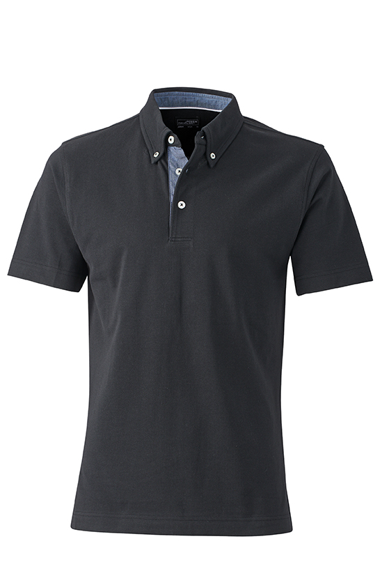 Mens Plain Polo James & Nicholson - black/light denim
