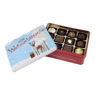 Geschenkdose mit süßen Weihnachtsgrüßen