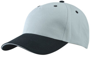 5 Panel Sandwich Cap James & Nicholson - lightgrey black lightgrey