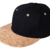 6 Panel Cork Flat Peak Cap James & Nicholson - black/natural