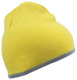 Beanie with Contrasting Border James & Nicholson - yellow lightgrey