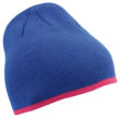 Beanie with Contrasting Border James & Nicholson - royal pink
