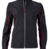 Ladies Zip Off Jacket James & Nicholson - black red