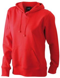 Damen Kapuzen Sweater - red