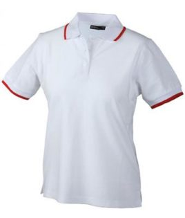 Ladies Tipping Polo - white red