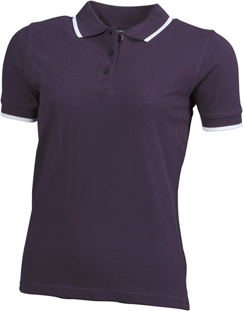 Ladies Tipping Polo - aubergine white