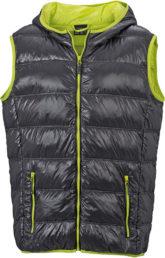 Men s Down Vest - carbon/acid-yellow