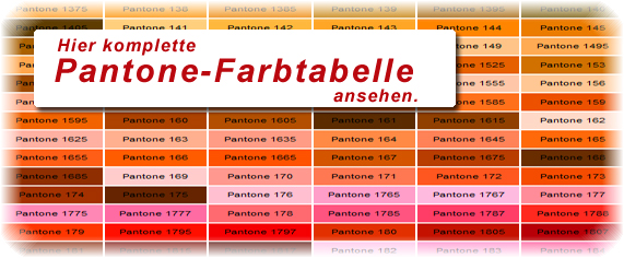 Pantone Farbtabelle mit Pantone Farben