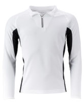 Mens Running Shirt Langarm James & Nicholson - white black
