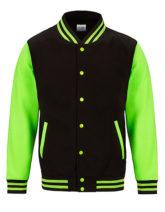 Electric Varsity Jacket Just Hoods - jet black electric green
