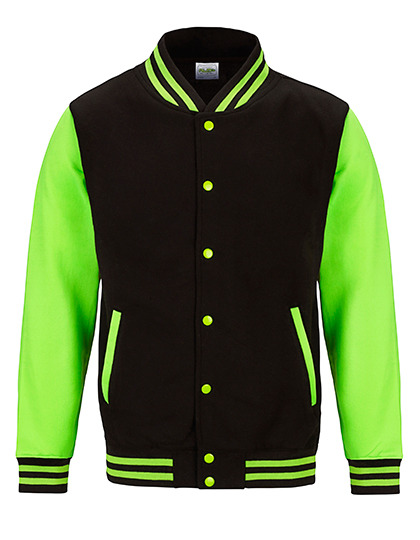 Electric Varsity Jacket Just Hoods - jet black electric green