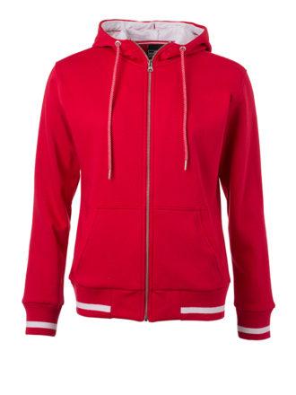 Ladies Club Sweat Jacket James and Nicholson - red white