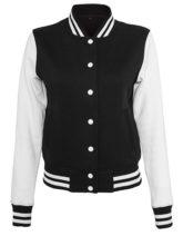 Ladies Sweat College Jacket Build Your Brand - black white
