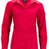 Ladies Business Shirt Long Sleeved James & Nicholson - red
