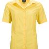 Ladies Business Shirt Short Sleeved James & Nicholson - yellow