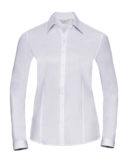 Ladies Long Sleeve Herringbone Shirt Russel - white
