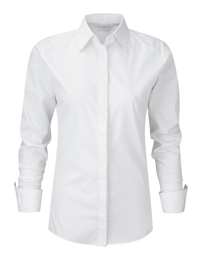 Ladies Long Sleeve Ultimate Stretch Shirt Russel - white