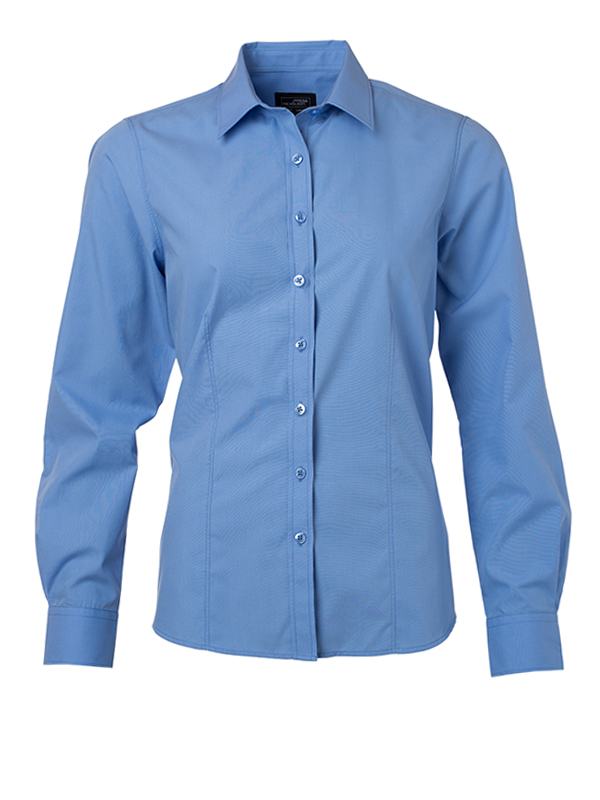 Ladies Shirt Longsleeve Poplin James & Nicholson - aqua