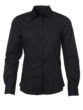 Ladies Shirt Longsleeve Poplin James & Nicholson - black
