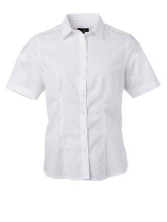Ladies Shirt Shortsleeve Oxford James & Nicholson - white