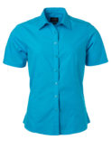 Ladies Shirt Shortsleeve Poplin James & Nicholson - turquoise