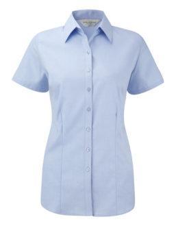Ladies Short Sleeve Herringbone Shirt Russel - light blue
