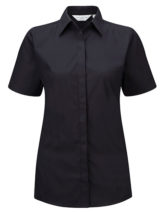 Ladies Short Sleeve Ultimate Stretch Shirt Russel - black