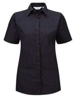 Ladies Short Sleeve Ultimate Stretch Shirt Russel - black
