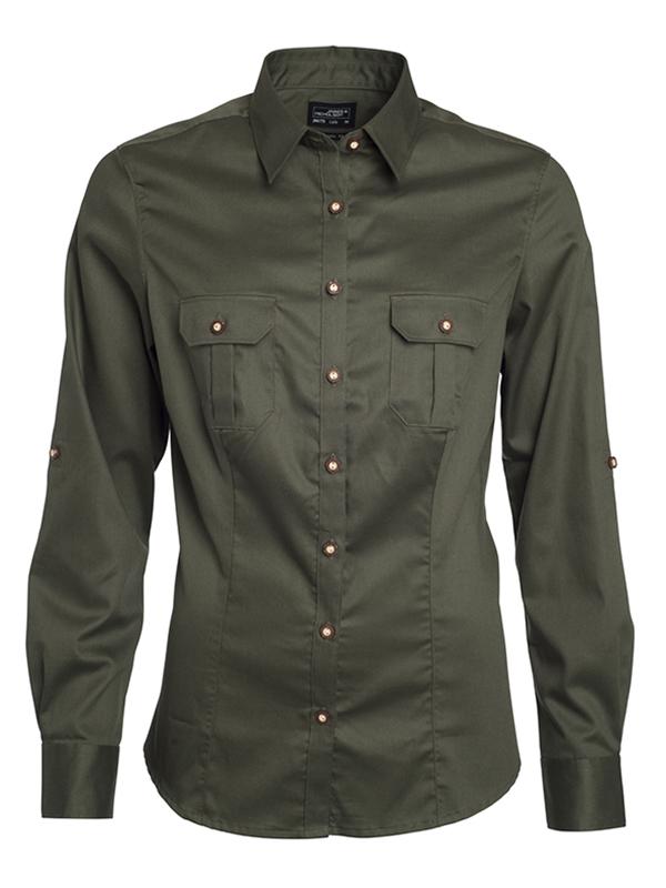 Ladies Traditional Shirt Plain James & Nicholson - olive