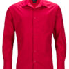 Mens Business Shirt Long Sleeved James & Nicholson - red