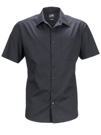 Mens Business Shirt Short Sleeved James & Nicholson - black