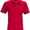 Mens Business Shirt Short Sleeved James & Nicholson - red