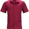Mens Business Shirt Short Sleeved James & Nicholson - wine