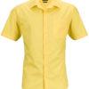 Mens Business Shirt Short Sleeved James & Nicholson - yellow