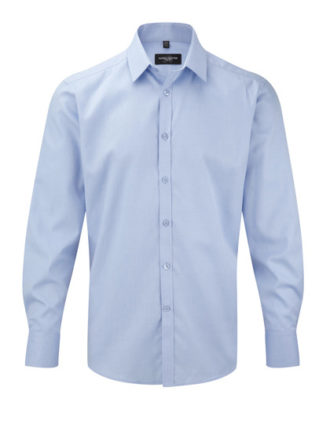 Mens Long Sleeve Herringbone Shirt Russel - light blue