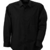 Mens Shirt Classic Fit Long James & Nicholson - black