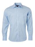 Mens Shirt Longsleeve Oxford James & Nicholson - light blue