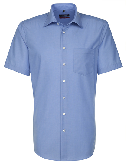 Mens Shirt Modern Fit Shortsleeve Seidensticker - midblue