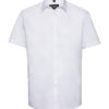 Mens Short Sleeve Herringbone Shirt Russel - white