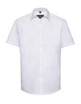 Mens Short Sleeve Herringbone Shirt Russel - white