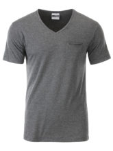 Mens T Pocket James & Nicholson - black heather