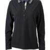 Ladies Polo Long Sleeved James & Nicholson - black