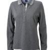 Ladies Polo Long Sleeved James & Nicholson - grey melange