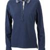 Ladies Polo Long Sleeved James & Nicholson - navy