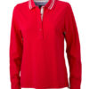Ladies Polo Long Sleeved James & Nicholson - red