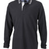 Mens Polo Long Sleeved James & Nicholson - black