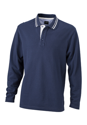 Mens Polo Long Sleeved James & Nicholson - navy