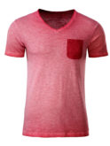 Mens Slub T James & Nicholson - chili