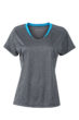 Ladies Running T Shirt James & Nicholson - black melange atlantic
